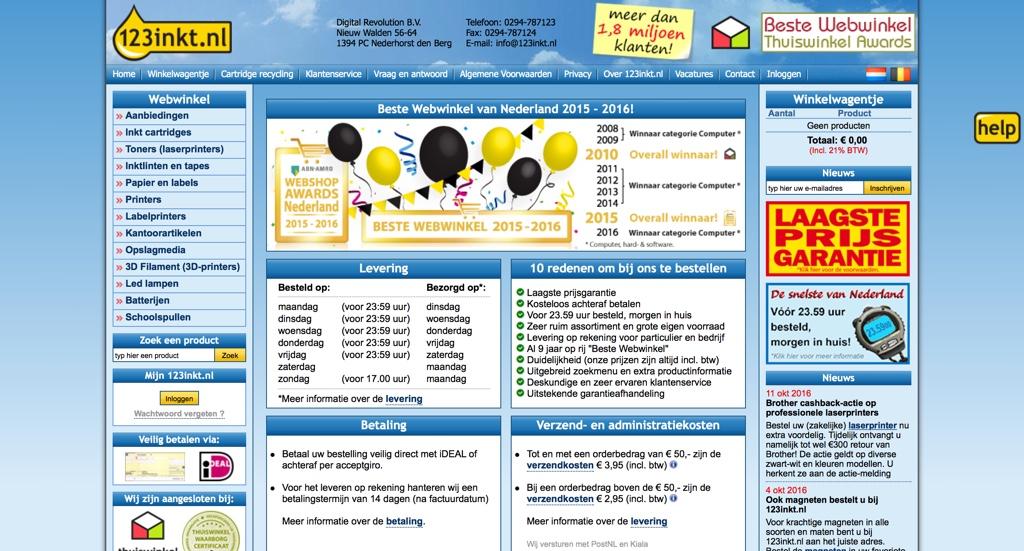 Website van 123inkt.nl