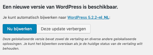 WordPress updaten button